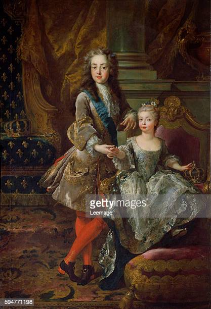 Portraits of the king Louis XV of France called Louis The Beloved and his first bride Mariana Victoria of Spain Painting by Jean Francois De Troy ca...