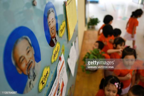 Portraits of the late leaders of North Korea Kim Il Sung and Vietnam Ho Chi Minh decorates a wall of the VietnamNorth Korea Friendship Kindergarten...
