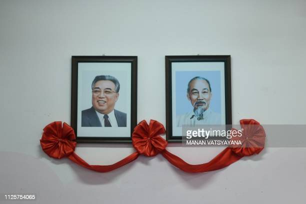 Portraits of the late North Korean leader Kim Il Sung and Vietnam's Ho Chi Minh decorates a classroom wall of the VietnamNorth Korea Friendship...