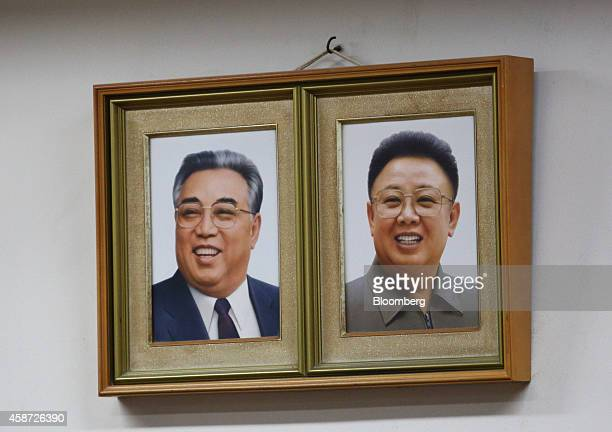 Portraits of the late North Korean leaders Kim Il Sung left and Kim Jong Il are displayed in a classroom at the Korean High School in Tokyo Japan on...
