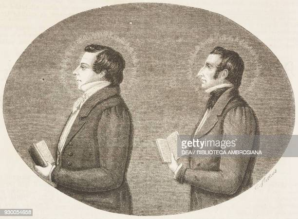 Portraits of the Prophet Joseph Smith the founder of Mormonism and his brother Hyrum Smith United States of America drawing by CharlesJoseph Mettais...