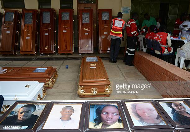 Portraits of the slain Garissa University students are displayed outside the Chiromo morgue on April 9 2015 in Nairobi The Kenyan goverment has...