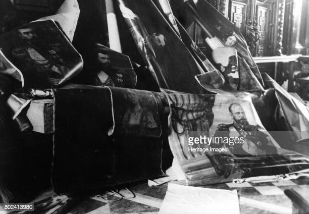 Portraits of the Tsars of Russia which were torn from the walls during the Russian Revolution 1917 Found in the collection of State Museum of...