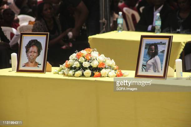 BAHATI NAKURU RIFTVALLEY KENYA Portraits of the victims seen during the memorial service Neighbors to the victims of the Ethiopian Airways Flight...