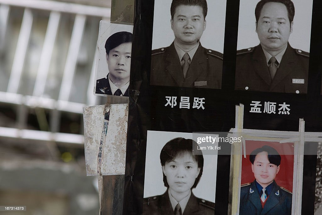 Portraits of the victims who died in the earthquake are seen at a park at the Beichuan town in Sichuan province on April 24, 2013 in Chengdu, China. The Beichuan earthquake memorial was built in memory of the over 70,000 that perished in the deadly 2008 quake that struck Sichuan province and was built near the Beichuan Middle School, where over 1,000 students and teachers died. With the five year quake anniversary only a few weeks away, residents of Sichuan province are coming to grips with the April 20 earthquake in nearby Ya'An that claimed the lives of over 190 people and injured thousands.