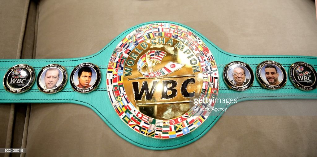 Portraits of Turkish President Recep Tayyip Erdogan and former boxer Muhammad Ali is seen on the championship belt of World Boxing Council, which was owned by Syrian boxer Mahmut Omer Manuel Charr, at Presidential Complex in Ankara, Turkey on February 21, 2018.