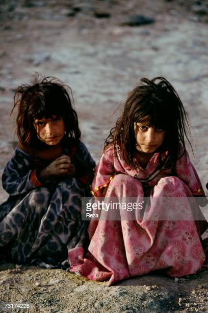 Portraits of two Pachtun girls living in the village of Petawga in the Pashtun tribal zone of Waziristan on July 2004 in Afghanistan