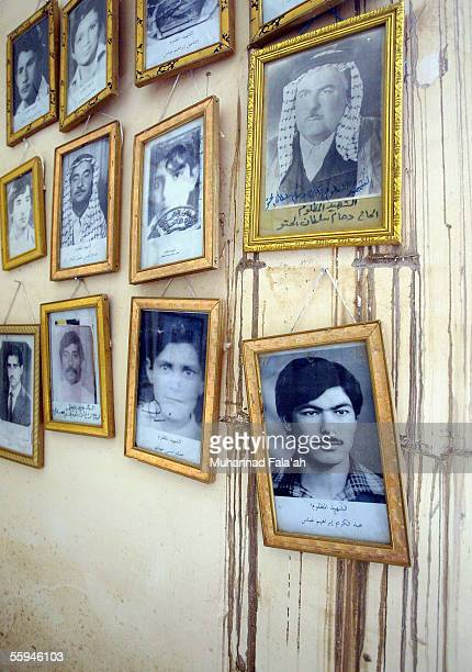 Portraits of victims line the wall at a memorial to the people executed after a failed assassination attempt in 1982 on October 1 2005 in the mostly...