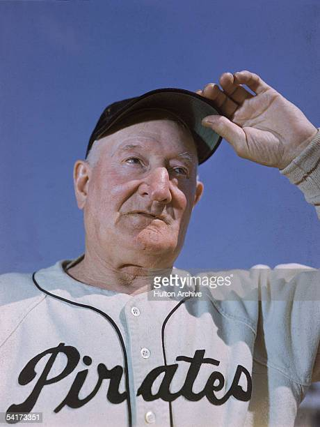 Portrati of American professional baseball player Honus Wagner of the Pittsburgh Pirates touching the brim of his cap late 1910s Wagner known as 'The...