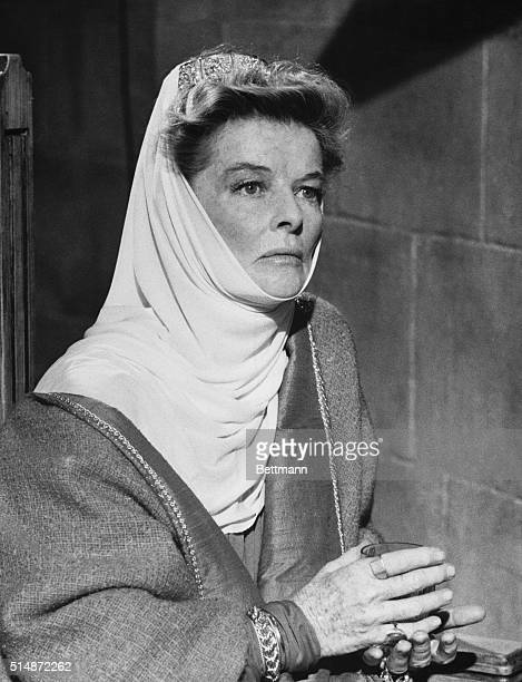 Portraying Queen Eleanor of Aquitaine Katharine Hepburn is caught in a thoughtful mood during a scene in The Lion in Winter