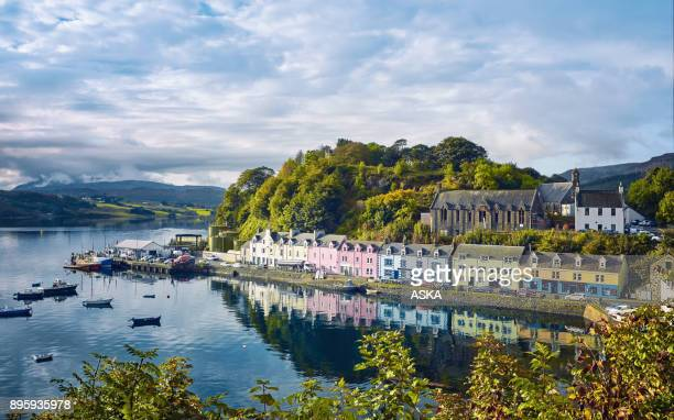 portree, isle of skye, scotland - coastline stock photos and pictures