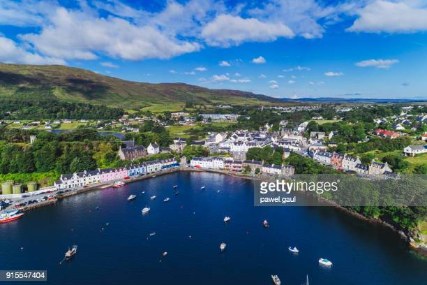 Portree town aerial, Scotland