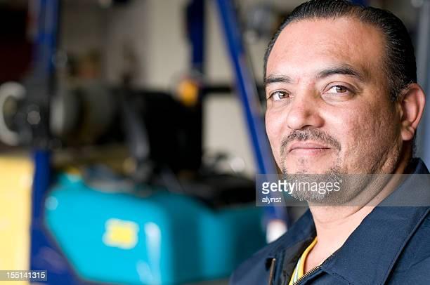 Portriat of A Hispanic Male Blue Collar Employee