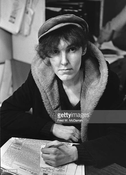 Portriat of American author Valerie Solanas as she sits in the offices of the Village Voice newspaper New York New York February 16 1967 Solanas had...