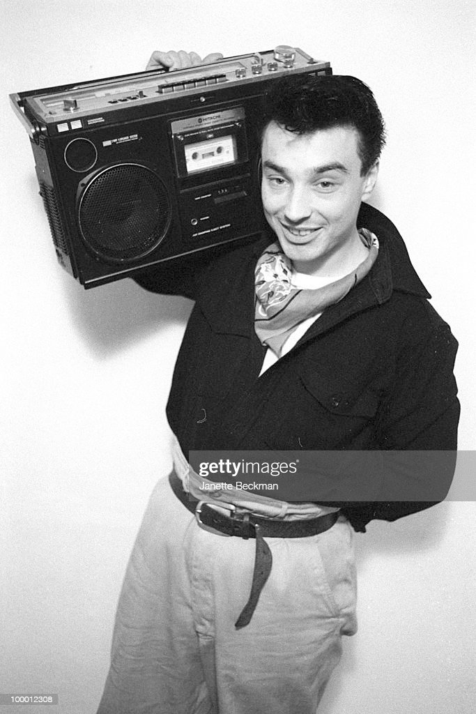 Portriat of the unidentified drummer of the British rockabilly revival group El Train, London, England, 1982.