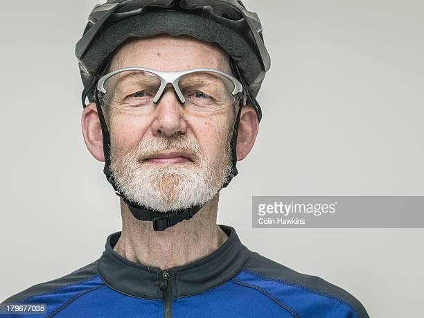 Portrit of elderly male cyclist