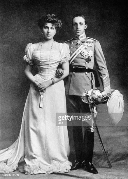 Portrrait d'Alfonso XIII et Victoria Eugénia Roi et Reine d'Espagne Espagne