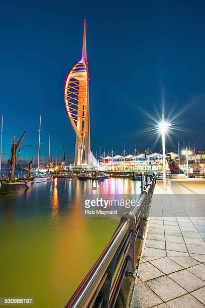 portsmouth at dusk - spinnaker tower stock photos and pictures