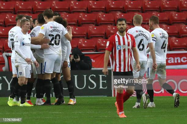 Portsmouth celebrate a penalty scored making it 31 during the Sky Bet League 1 match between Sunderland and Portsmouth at the Stadium Of Light...
