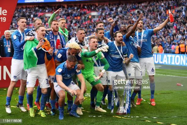 Portsmouth celebrate winning the Checkatrade Trophy during the Checkatrade Trophy Final between Sunderland AFC and Portsmouth FC at Wembley Stadium...