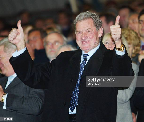 Portsmouth chairman Milan Mandaric celebrates his side winning promotion to the Premier League after the Nationwide League Division One match between...