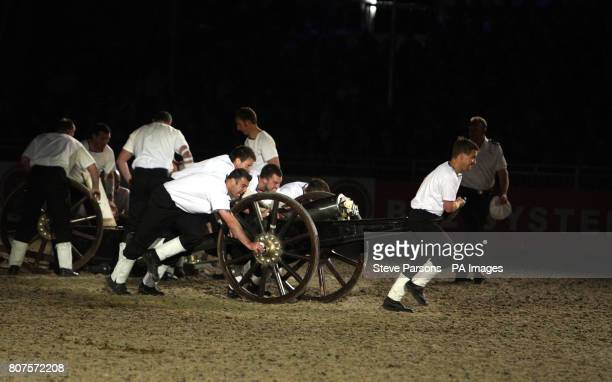 Portsmouth compete in the field gun run during the Windsor Castle Royal Tattoo in Berkshire