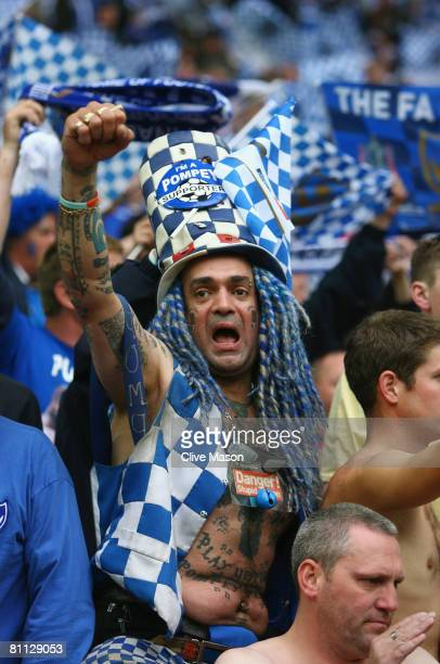 Portsmouth fan celebrates following the FA Cup Final sponsored by EON between Portsmouth and Cardiff City at Wembley Stadium on May 17 2008 in London...