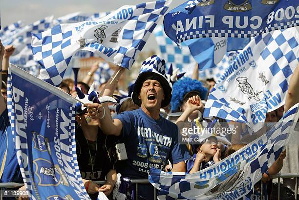 Portsmouth fan celebrates his team's win in the FA Cup Final 2008 on May 18 2008 in Portsmouth England