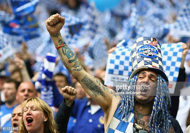 Portsmouth fan enjoys the atmosphere prior to the FA Cup Final sponsored by EON between Portsmouth v Cardiff City at Wembley Stadium on May 17 2008...