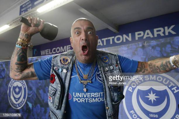 Portsmouth fan John Westwood outside of Fratton Park during the Sky Bet League One Play Off Semi-final 1st Leg match between Portsmouth FC and Oxford...