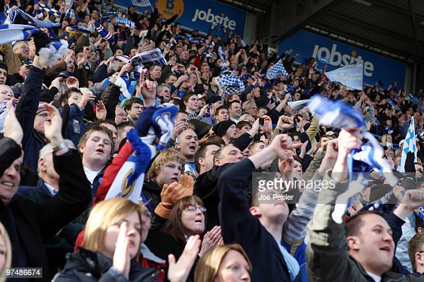 Portsmouth fans celebrate during the FA Cup sponsored by EON 6th Round match between Portsmouth and Birmingham City at Fratton Park on March 06 2010...
