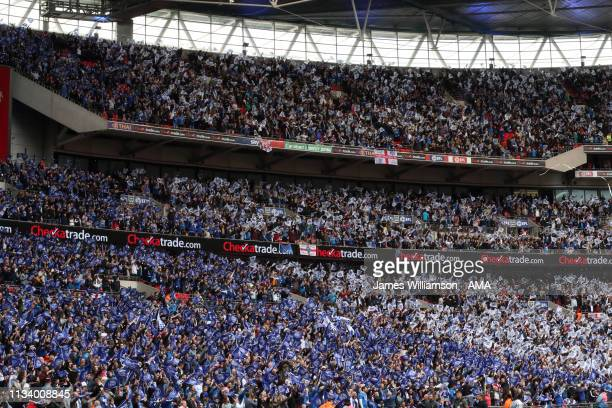 Portsmouth fans during the Checkatrade Trophy Final between Sunderland AFC and Portsmouth FC at Wembley Stadium on March 31 2019 in London England