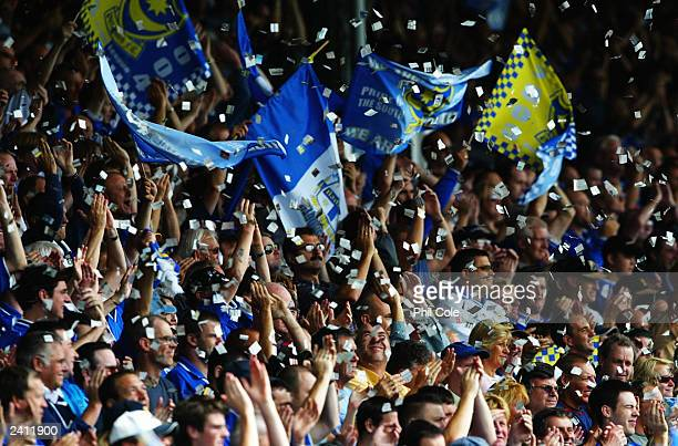 Portsmouth fans during the FA Barclaycard Premiership match between Portsmouth and Aston Villa held on August 16 2003 at Fratton Park in Portsmouth...