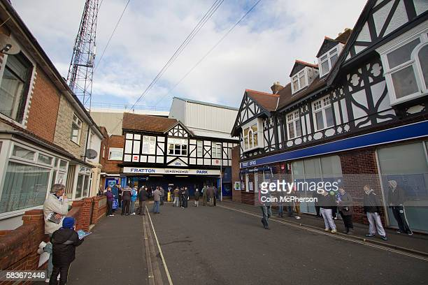 Portsmouth fans gathering outside the main entrance to Fratton Park stadium before their club take on local rivals Southampton in a Championship...
