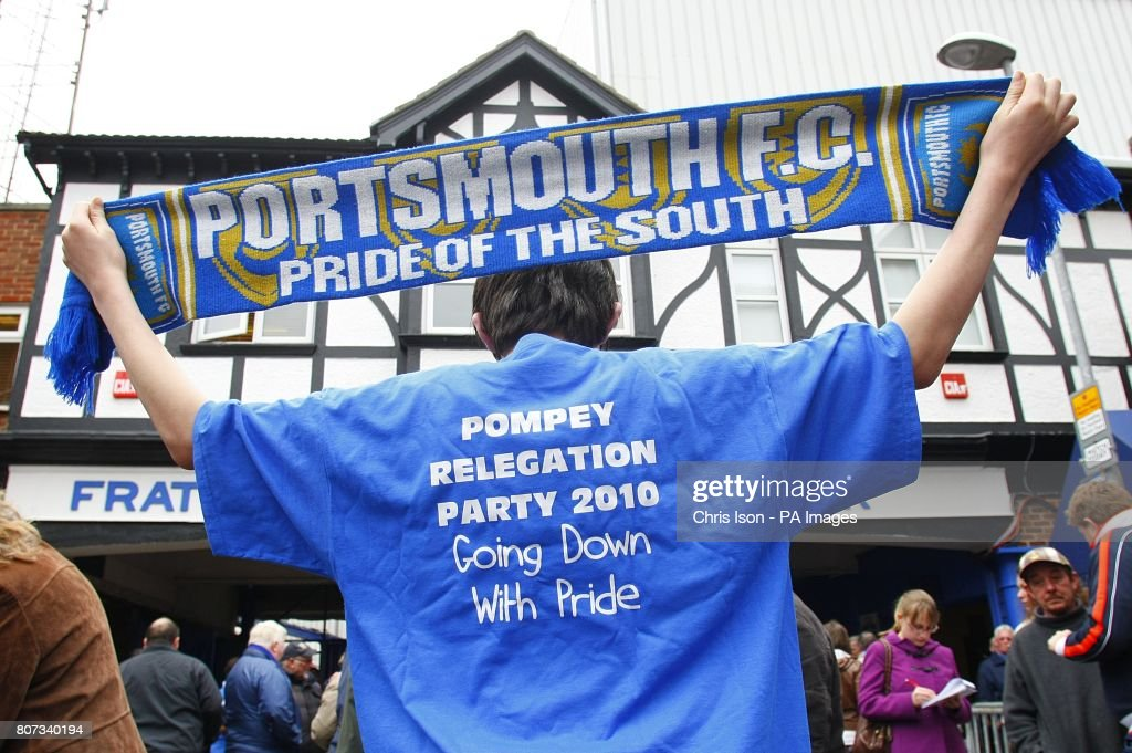 Portsmouth fans prepare for relegation outside the ground prior to kick off