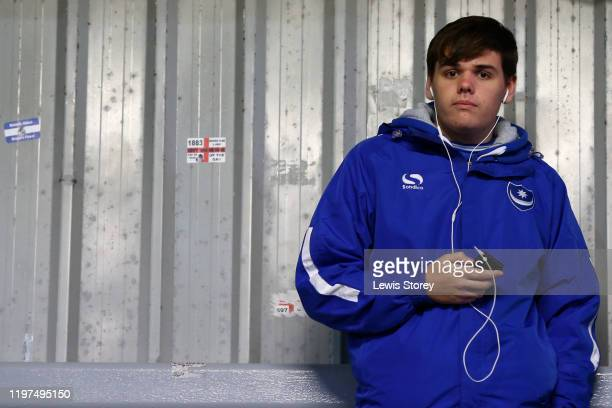 Portsmouth FC fan is seen prior to the FA Cup Third Round match between Fleetwood Town and Portsmouth FC at Highbury Stadium on January 04 2020 in...