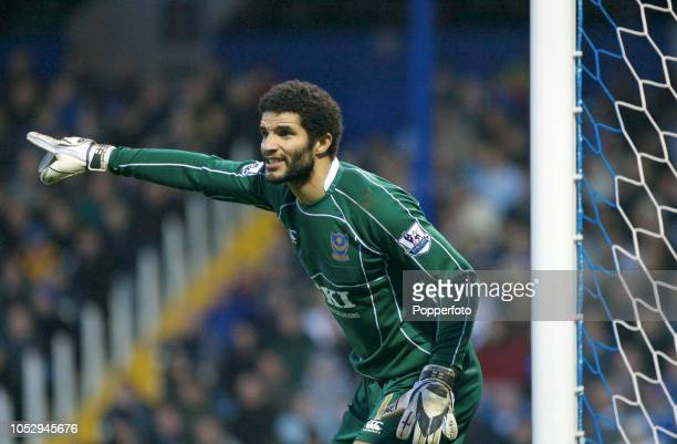 Portsmouth goalkeeper David James in action during the Barclays Premier League match between Portsmouth and Derby County at Fratton Park on January...
