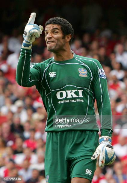 Portsmouth goalkeeper David James reacts during the Barclays Premier League match between Arsenal and Portsmouth at the Emirates Stadium on September...