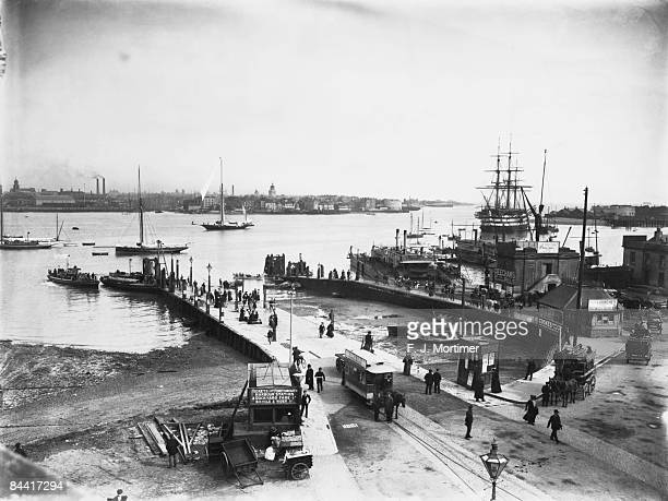 Portsmouth Harbour situated on Portsea Island in Hampshire circa 1890