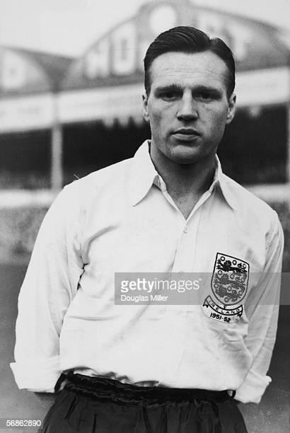 Portsmouth insideforward Len Phillips wearing an England international shirt made to commemorate the England vs Northern Ireland match at Birmingham...