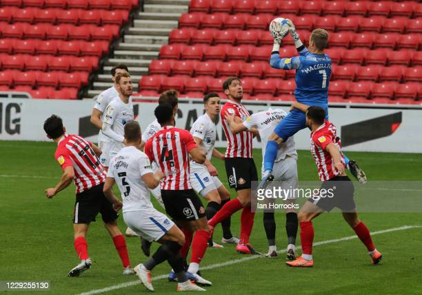 Portsmouth keeper Craig MacGillivray claims the ball during the Sky Bet League One match between Sunderland and Portsmouth at Stadium of Light on...