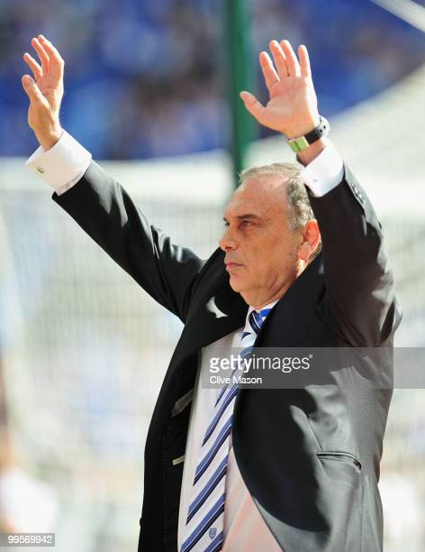 Portsmouth Manager Avram Grant salutes the fans at the end of the FA Cup sponsored by EON Final match between Chelsea and Portsmouth at Wembley...