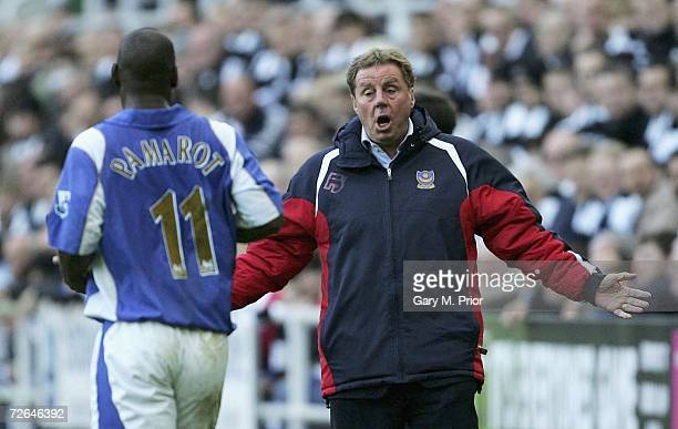 Portsmouth manager Harry Redknapp gives instructions to his player Noe Pamarot during the Barclays Premiership match between Newcastle United and...