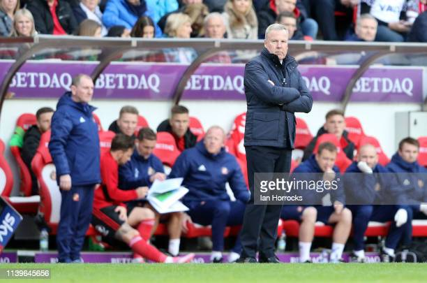 Portsmouth manager Kenny Jacket during the Sky Bet League One match between Sunderland and Portsmouth at Stadium of Light on April 27 2019 in...
