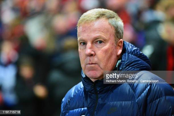 Portsmouth manager Kenny Jackett looks on during the FA Cup Third Round match between Fleetwood Town and Portsmouth at Highbury Stadium on January 4...