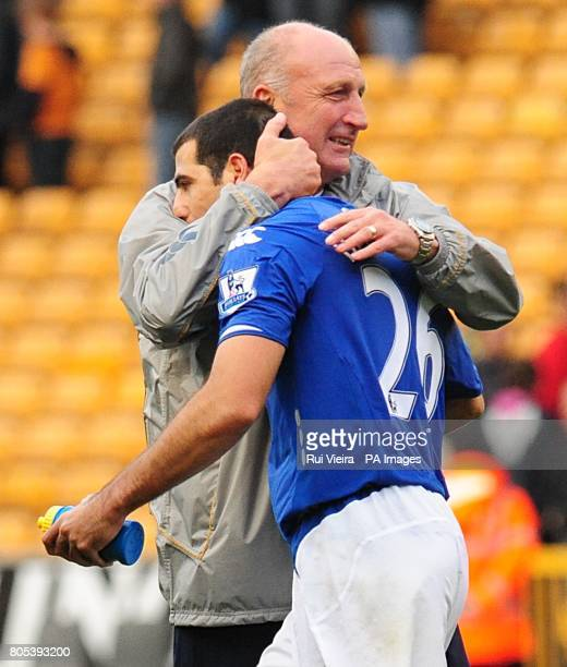Portsmouth manager Paul Hart celebrates their victory with Portsmouth's Tal BenHaim after the final whistle