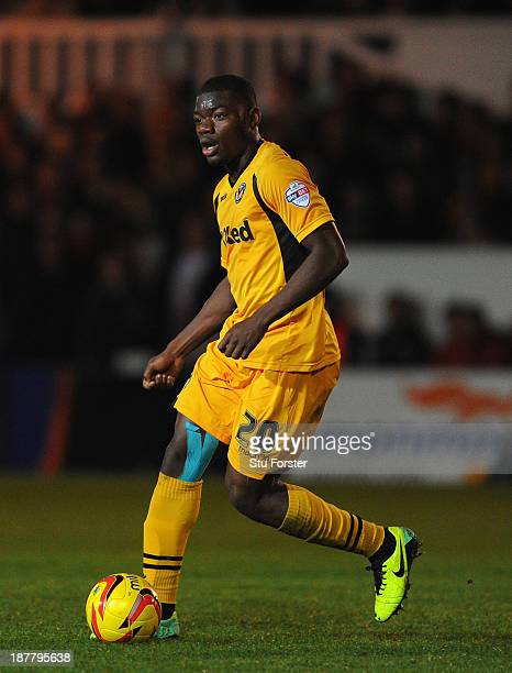 Portsmouth player Deji Oshilaja in action during the Johnstone's Paint Trophy southern section quarter final game between Newport County AFC and...