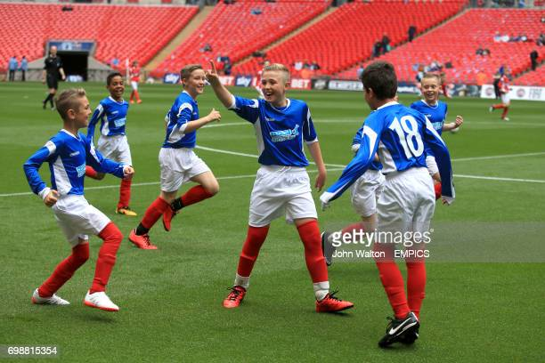Portsmouth represented by Lyndhurst Junior School celebrate during the KinderSport Kids Cup Final