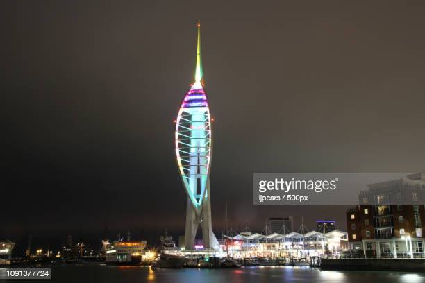 portsmouth spinnaker tower - spinnaker tower stock photos and pictures