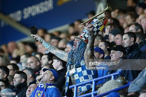 POrtsmouth supporter cheers during the Emirates FA Cup Fourth Round match between Portsmouth and AFC Bournemouth at Fratton Park on January 30 2016...